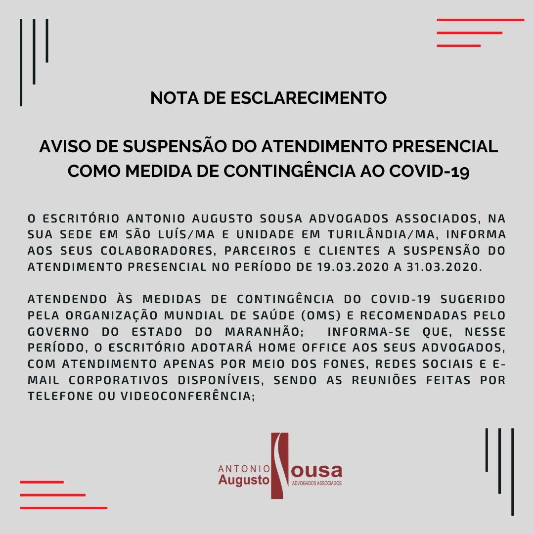 Read more about the article Comunicado Coronavírus